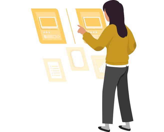 Frau tippt auf Computerbildschirm für eine automatische Dokumentenerstellung.