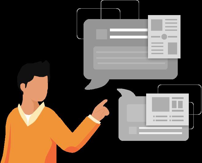 Mann zeigt auf ausgefüllte Dokumente die durch eine automatische Dokumentenerstellung generiert wurden.